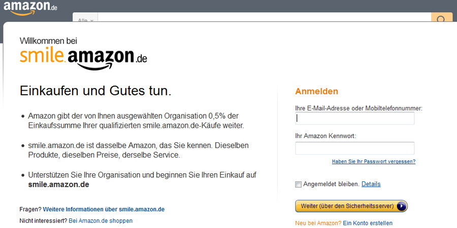 Screenshot von smile.amazon.de
