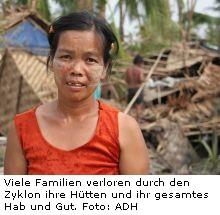 Zerstörung durch den Zyklon Nargis